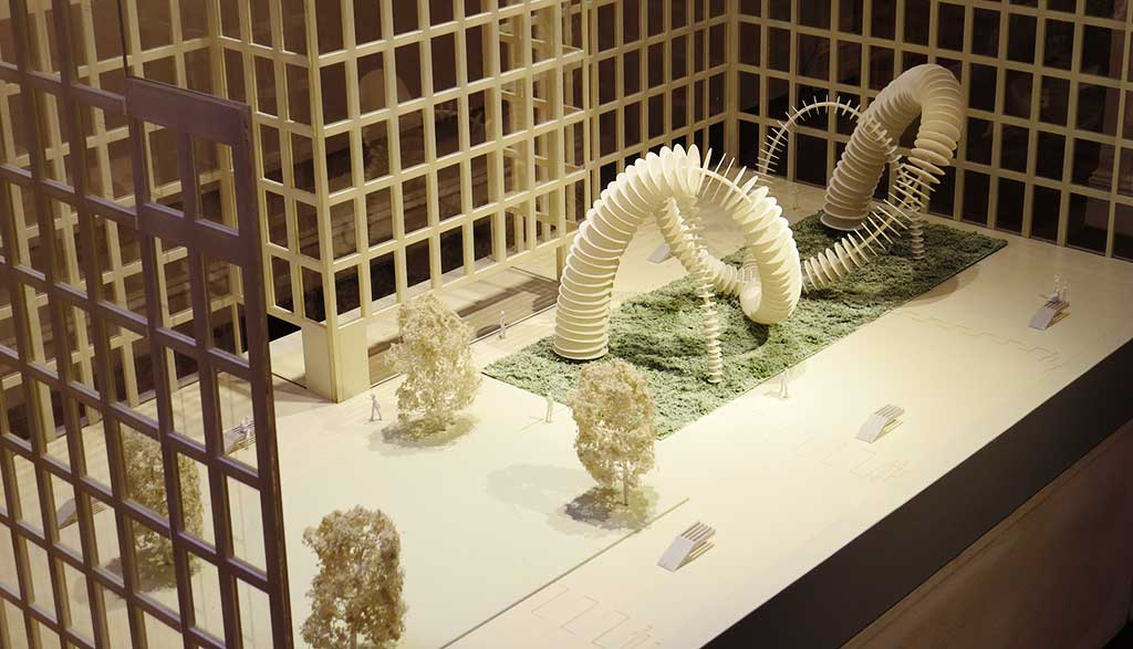 Model of design idea for public sculpture for office development