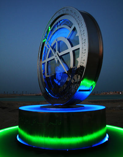 Bespoke water feature: astrolabe for Amwaj Islands, Bahrain