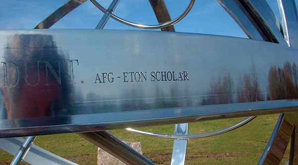 Stainless steel armillary sphere at Eton College