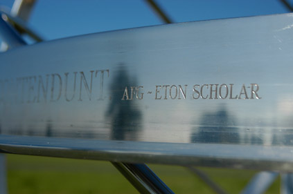 Engraving on armillary sphere for Eton school