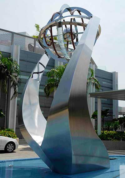 Large public sculpture with armillary sphere, Singapore