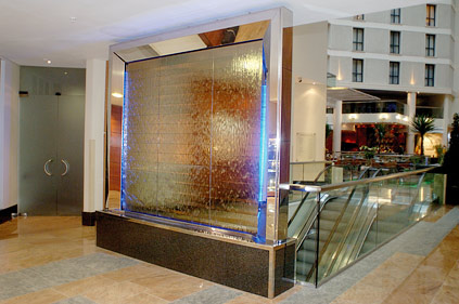 Indoor water wall for Sofitel Hotel, Gatwick Airport England
