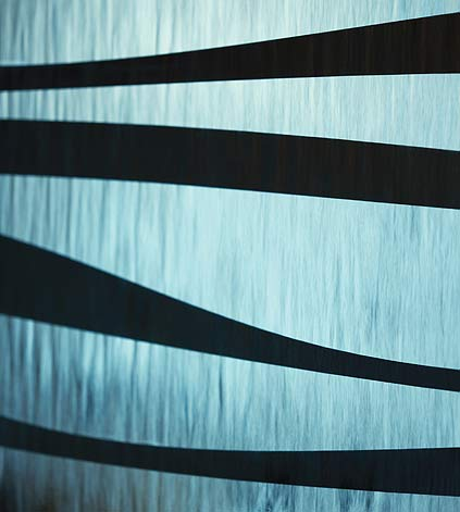 Detail of the zebra striped surface of water wall