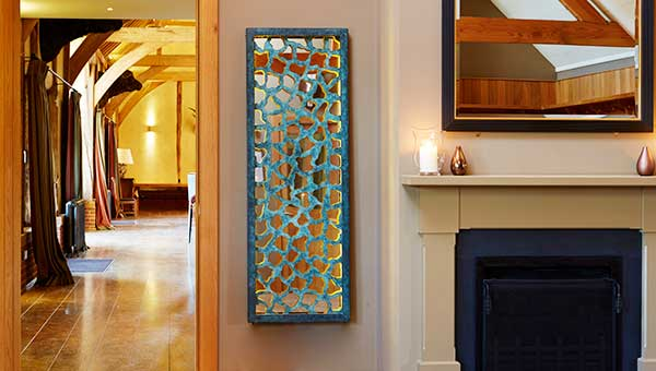 Lattice Metal Wall Art Panel With A Verdigris Bronze Latticework Backed By  A Stainless Steel