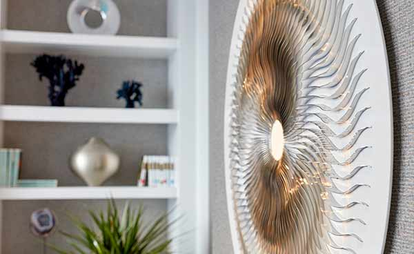 Turbine wall sculpture in living room