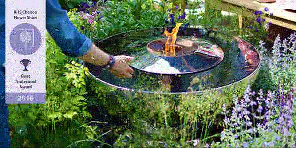The Fire Chalice water feature and fire pit, launched at RHS Chelsea Flower Show