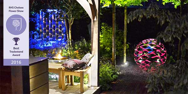 David Harber stand for RHS Chelsea Flower Show lit up at night