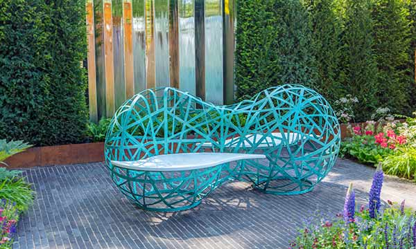 Bench of Contemplation en bronze vert-de-gris