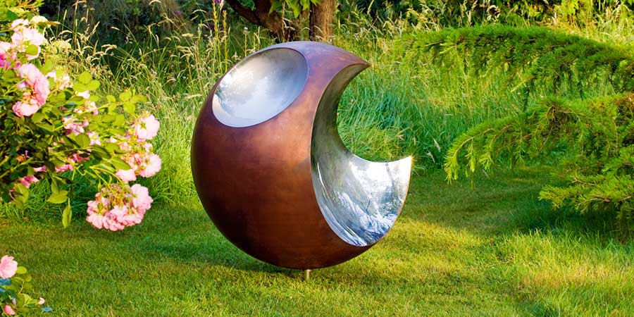 Modern copper garden art