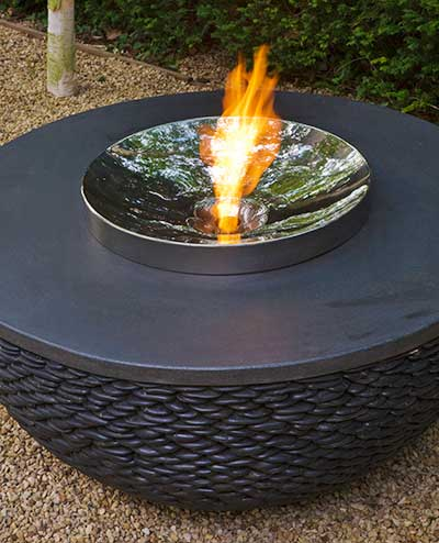 Fire pit table with black stone base