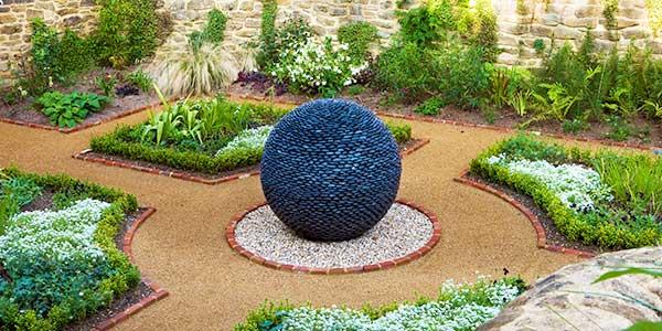 Garden Sphere In Black Stone, Slate Or Glass