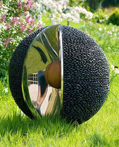 Garden Sphere Sculpture: Black Stone Outdoor Spheres with Stainless Steel