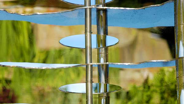 Monolith contemporary garden sculpture in stainless steel