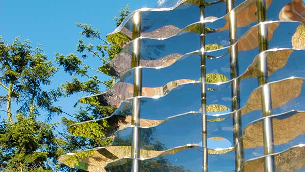 Reflections in the Monolith stainless steel garden art