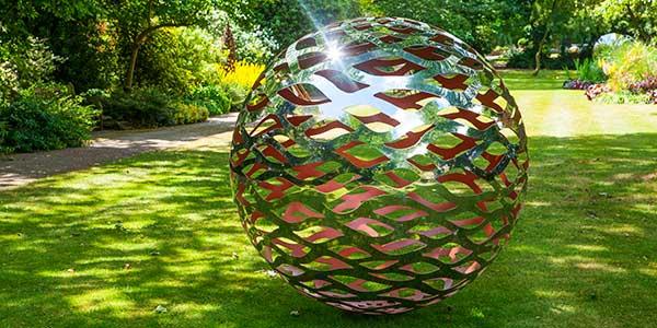 Black Stone Garden Sphere With Stainless Steel Center