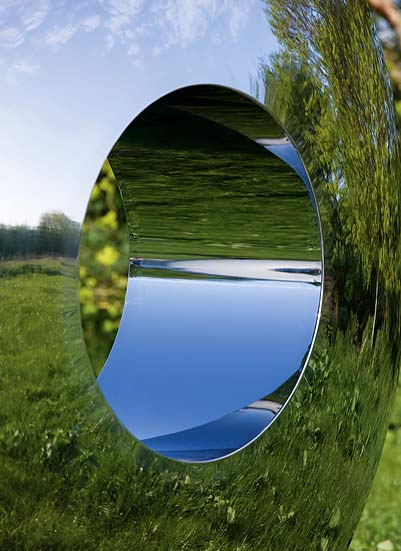 Close up of Torus garden sculpture showing reflections