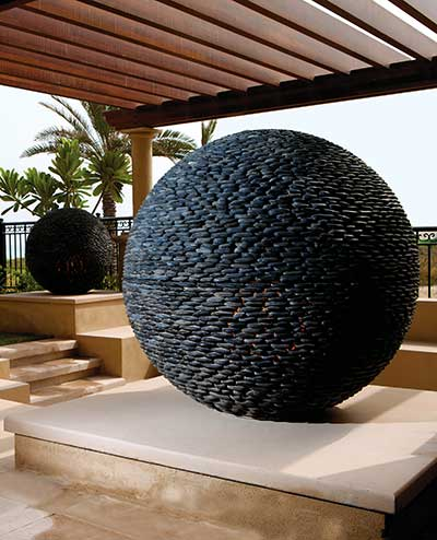 Large Dark Planet sculptures,