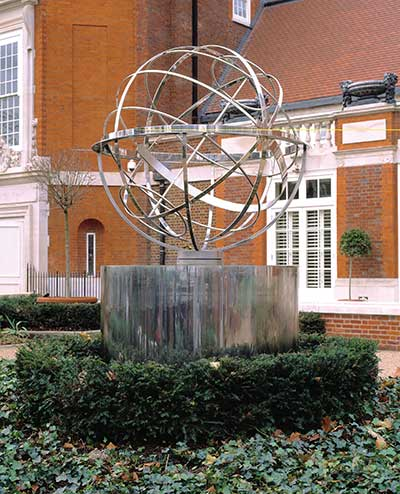 Armillary sphere water feature,