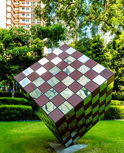 Woven metal cube sculpture, Gramercy Park, Singapore