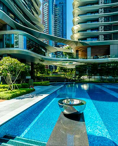 Chalice water feature, Futura Towers, Singapore