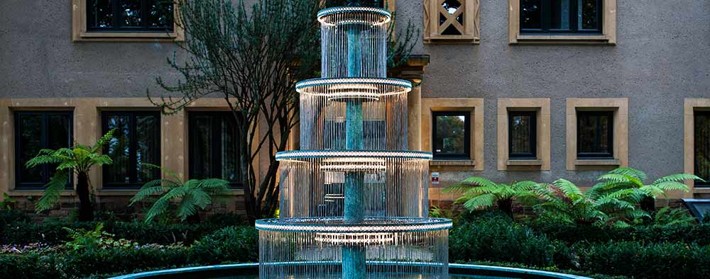 Four tiered outdoor fountain for company headquarters