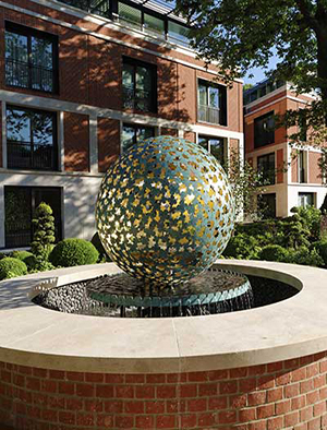 Custom sculptures and water features for luxury real estate, London, England