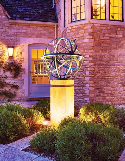 Armillary sundial on a modern plinth