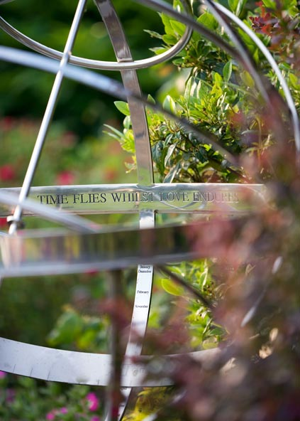 Detail of steel armillary sphere with custom engraving