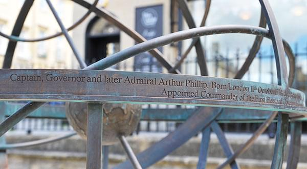Custom engraving on Arthur Philip memorial sundial