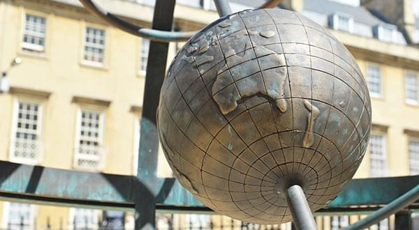 Personalised detailing - a globe showing the track of the first fleet to Australia