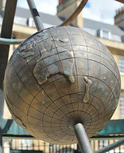 Personalized details: a globe showing the track of the first fleet to Australia