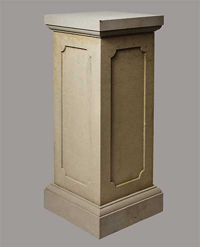Reconstituted cast stone plinth