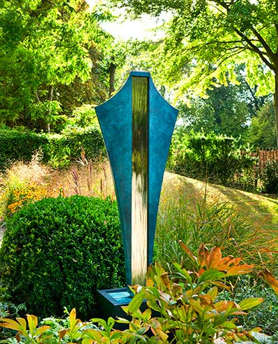 Unusual Water Feature: a Bronze Water Feature with Art Deco Styling