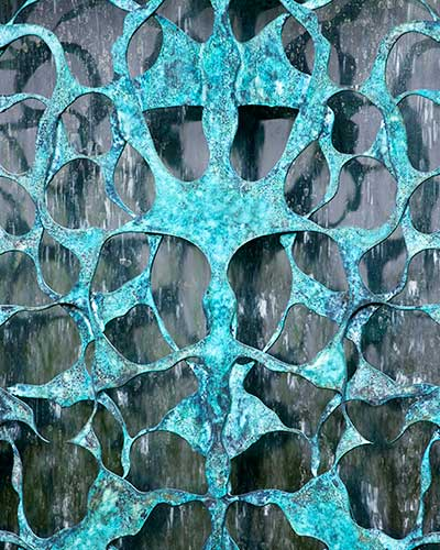 Detail of the Filligree bronze water wall