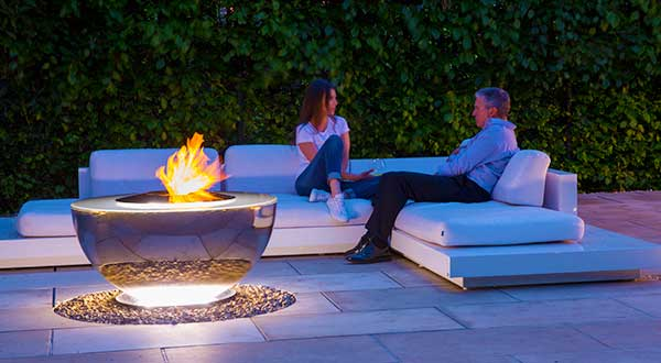 Fire Chalice stainless steel water feature fire pit