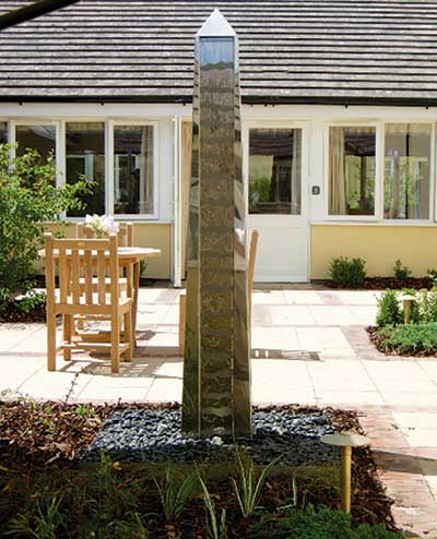 Water Feature Obelisk in Stainless Steel