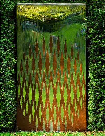 Modern Oxidised Water Wall Garden Sculpture Outdoor Art