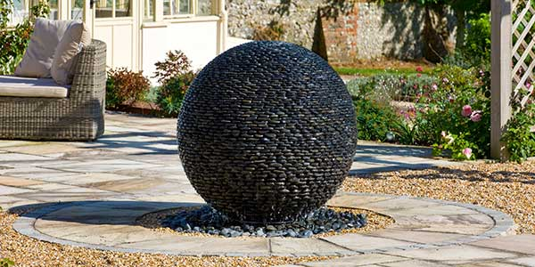 Stone Sphere Water Features Water Fountain Ball Of Black