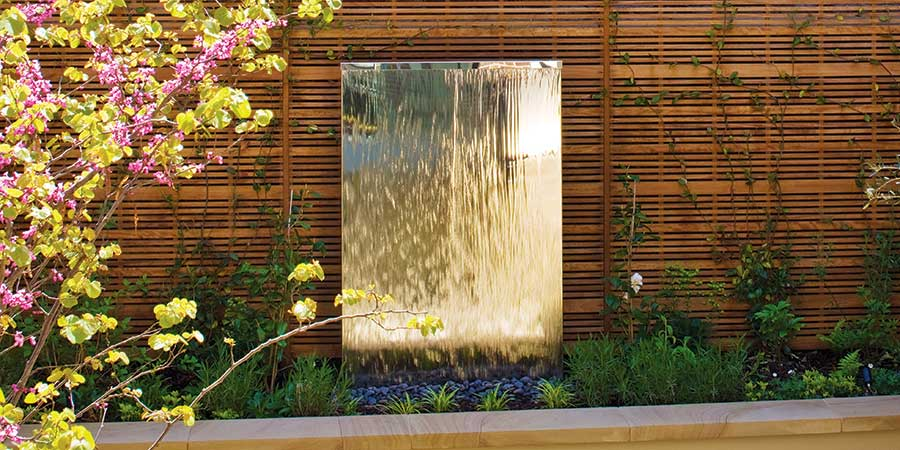 Contemporary water feature. Garden water wall