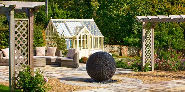 Stone Sphere Water Features: Water Fountain Ball Of Black Pebbles