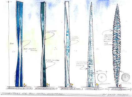 Creative ideas for the Aberdeen needle sculpture. Number three was selected
