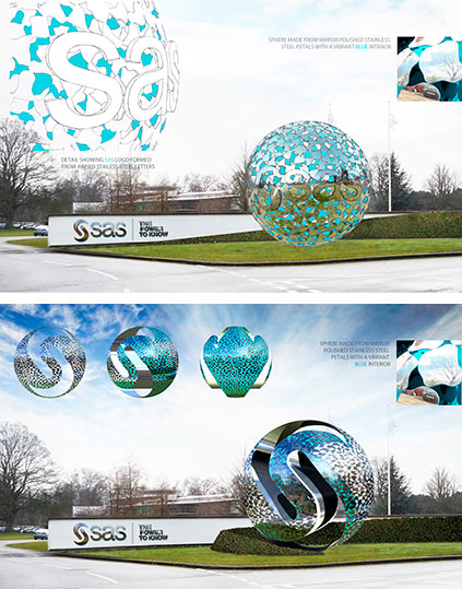 Sculptural artwork concept with stainless steel petals and logo and a vbrant blue interior